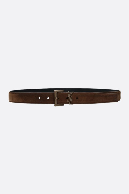 SAINT LAURENT: Monogram velvet suede belt Color Brown_1