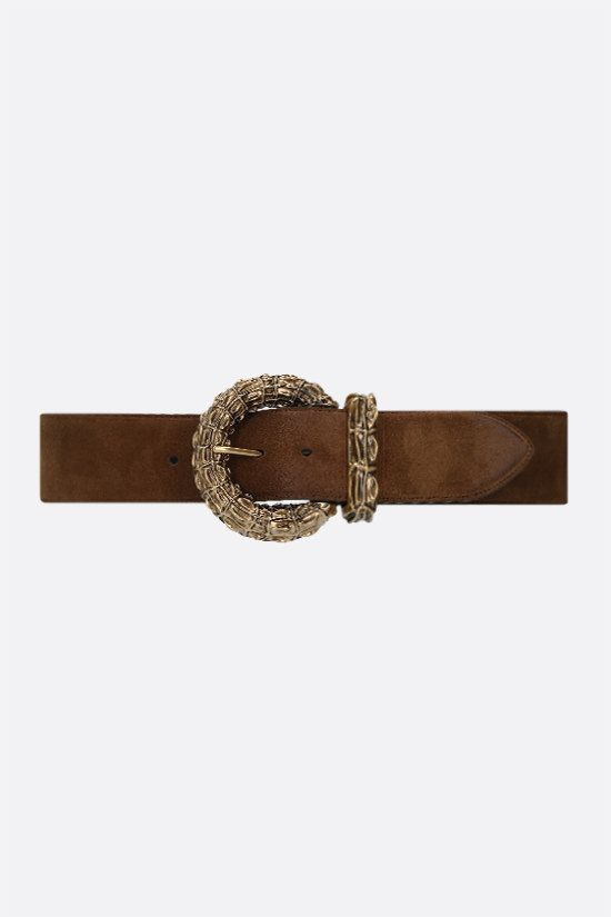 SAINT LAURENT: crocodile buckle suede belt Color Brown_1