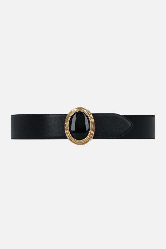 SAINT LAURENT: cabochon buckle-detailed smooth leathet belt Color Black_1