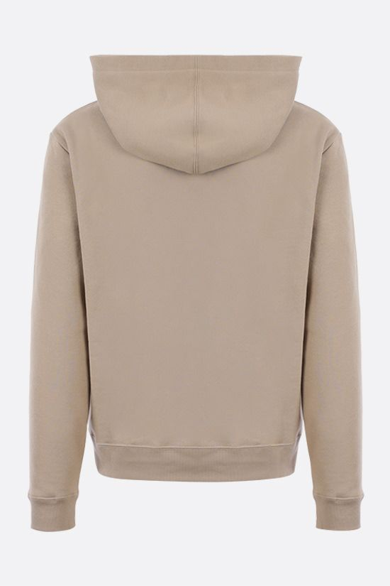 SAINT LAURENT: logo print cotton hoodie Color Neutral_2