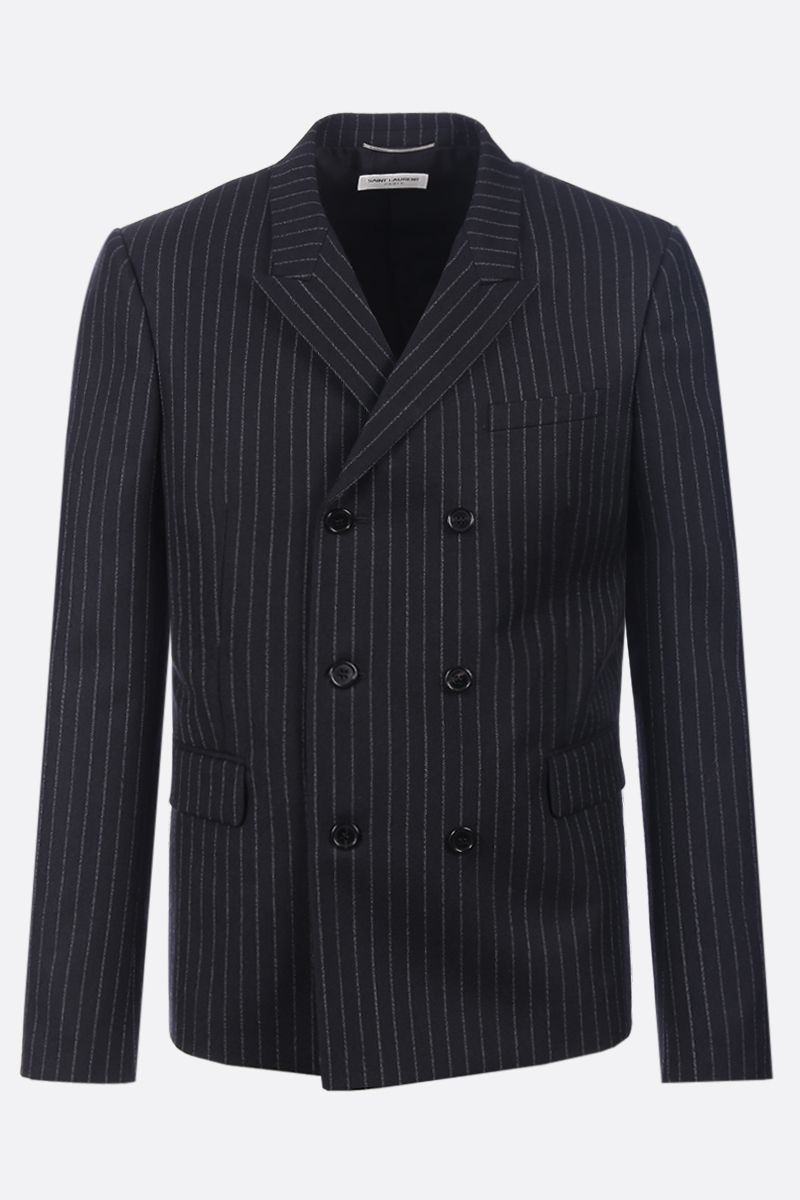 SAINT LAURENT: pinstripe wool double-breasted blazer Color Black_1
