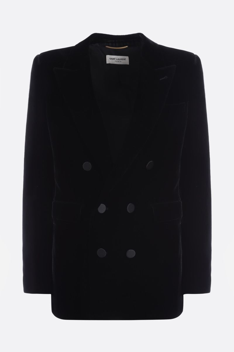 SAINT LAURENT: soft velvet double-breasted jacket Color Black_1