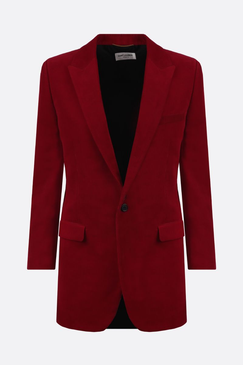 SAINT LAURENT: ribbed velvet single-breasted jacket Color Red_1