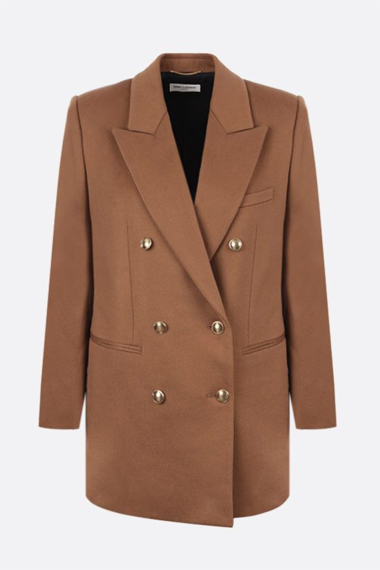 SAINT LAURENT: double-breasted wool cashmere blend jacket Color Brown_1