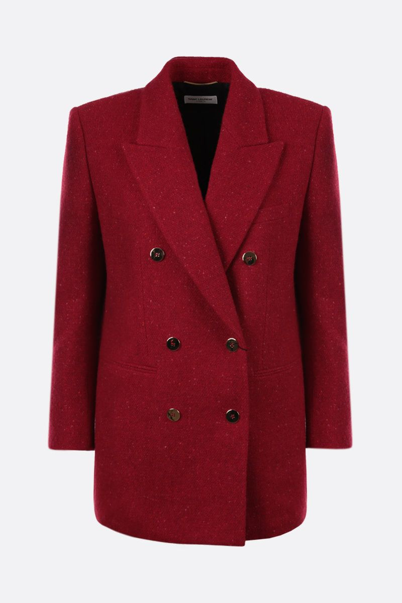 SAINT LAURENT: wool bouclè double-breasted jacket Color Red_1