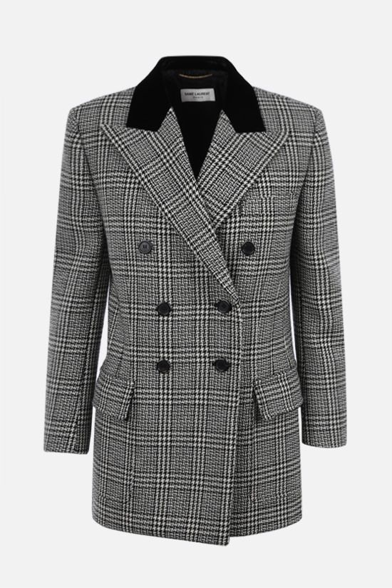 SAINT LAURENT: double-breasted prince of wales wool jacket Color Grey_1
