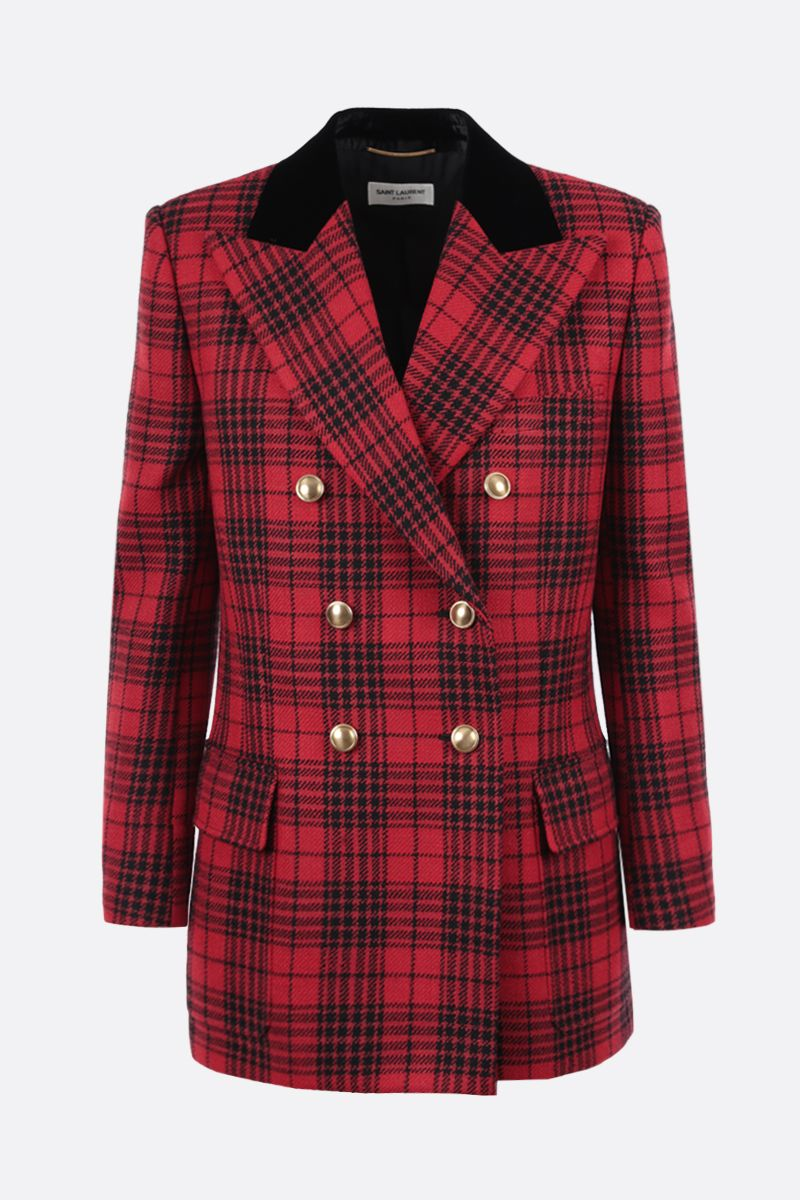 SAINT LAURENT: double-breasted prince of wales wool jacket Color Red_1