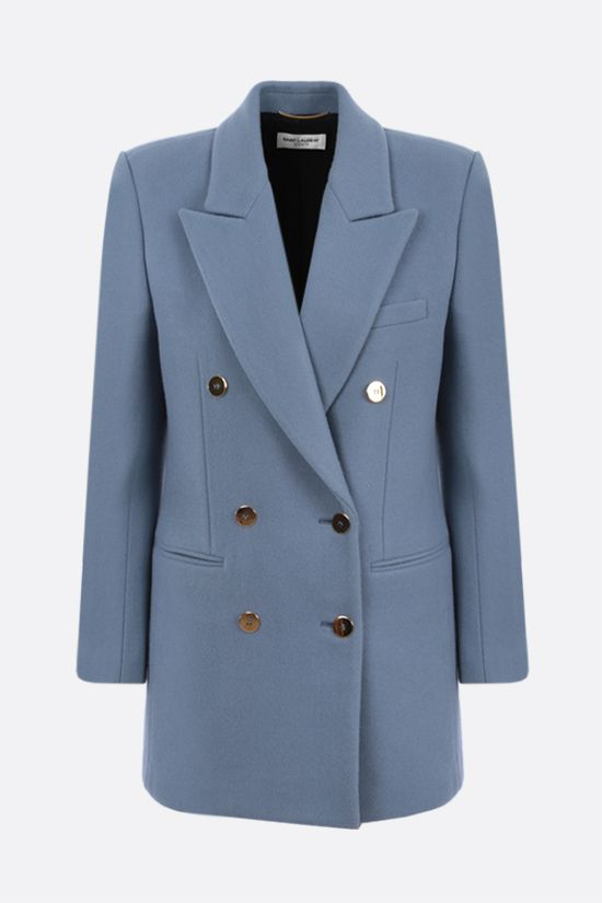 SAINT LAURENT: double-breasted wool cashmere blend jacket Color Blue_1
