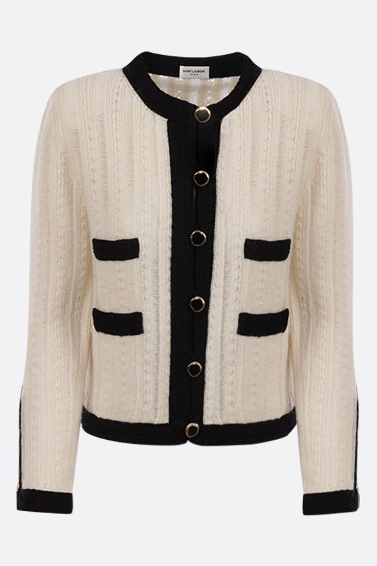 SAINT LAURENT: contrasting trims wool jacket Color Neutral_1