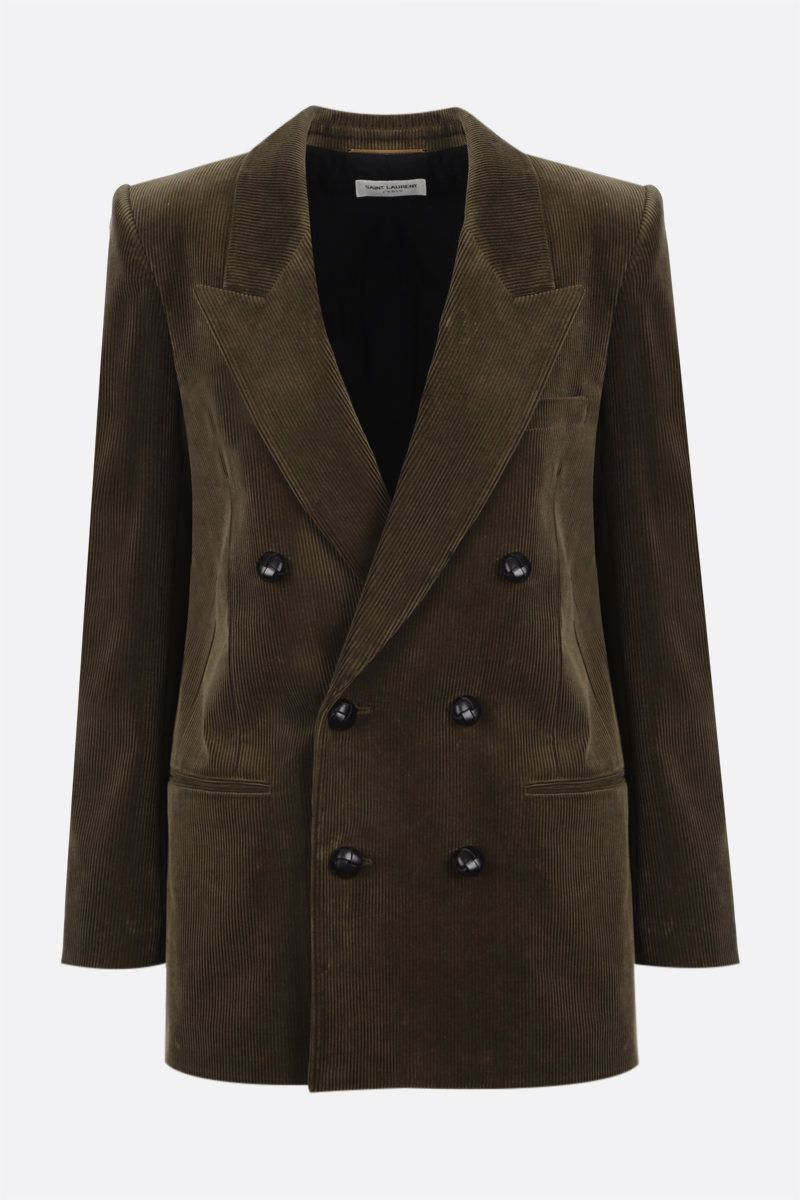SAINT LAURENT: double-breasted corduroy jacket Color Green_1