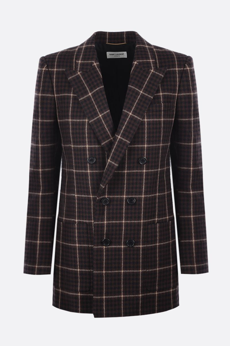 SAINT LAURENT: double-breasted houndstooth wool jacket Color Brown_1