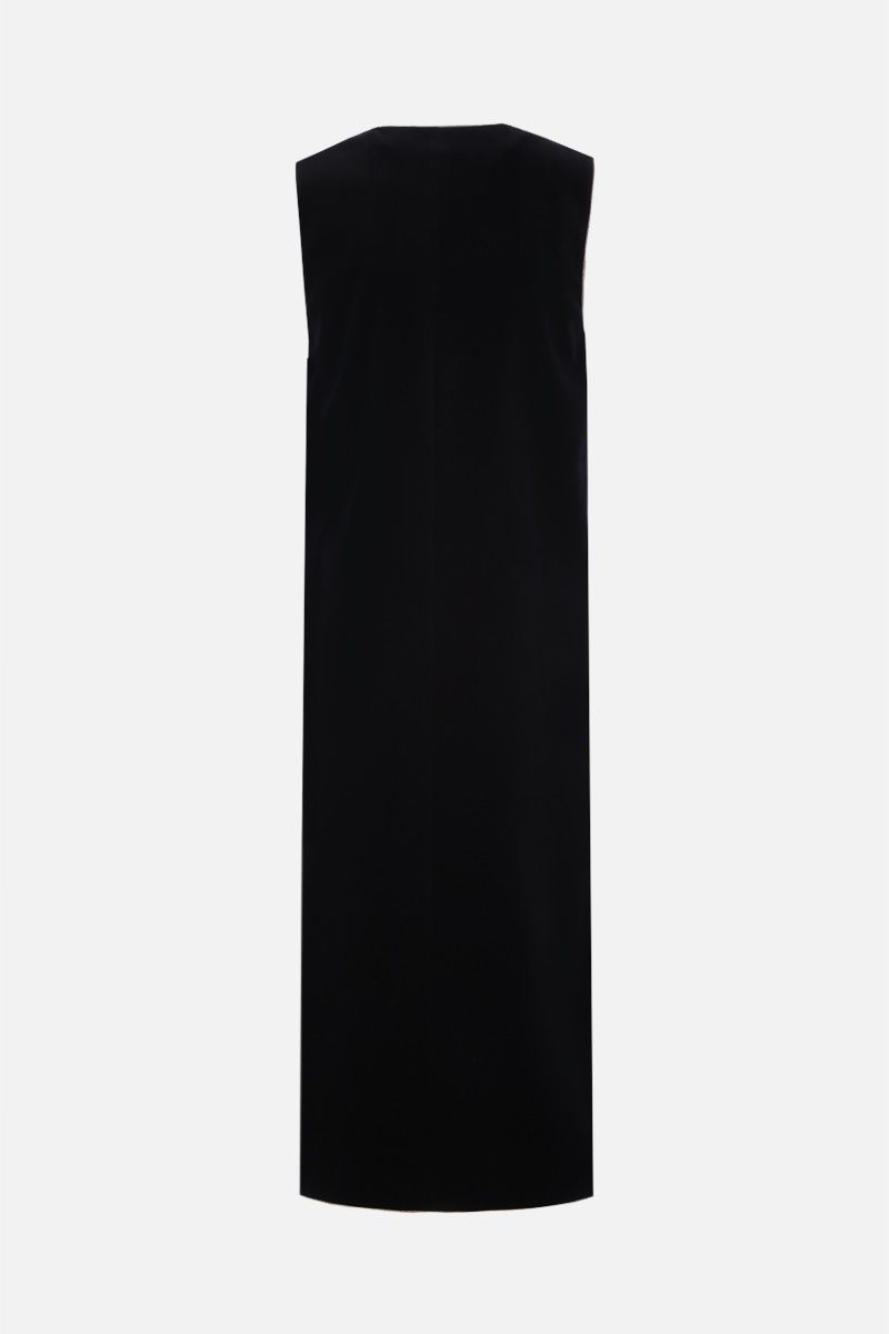 SAINT LAURENT: gilet lungo in velluto con piping in lurex Colore Nero_2