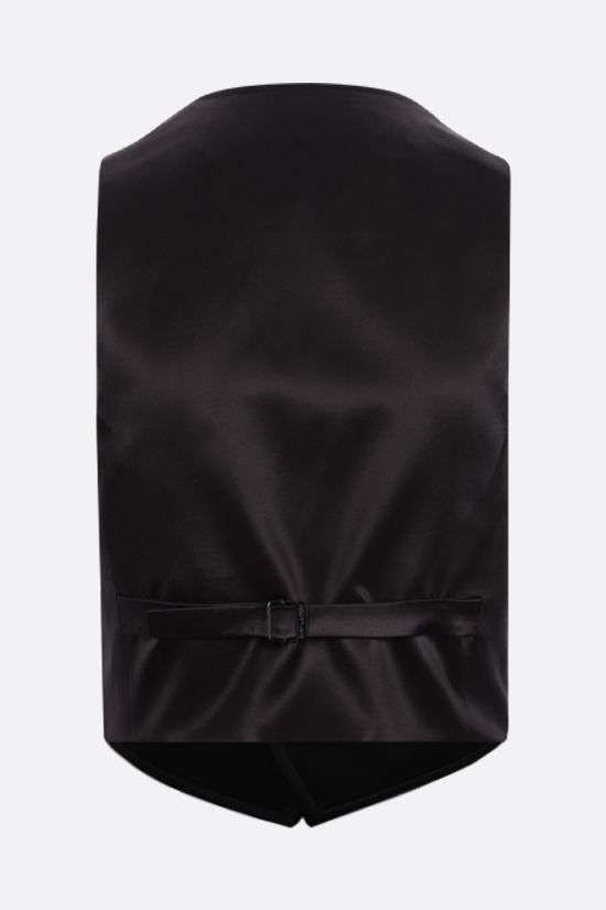 SAINT LAURENT: cropped tuxedo vest in wool and silk Color Black_2