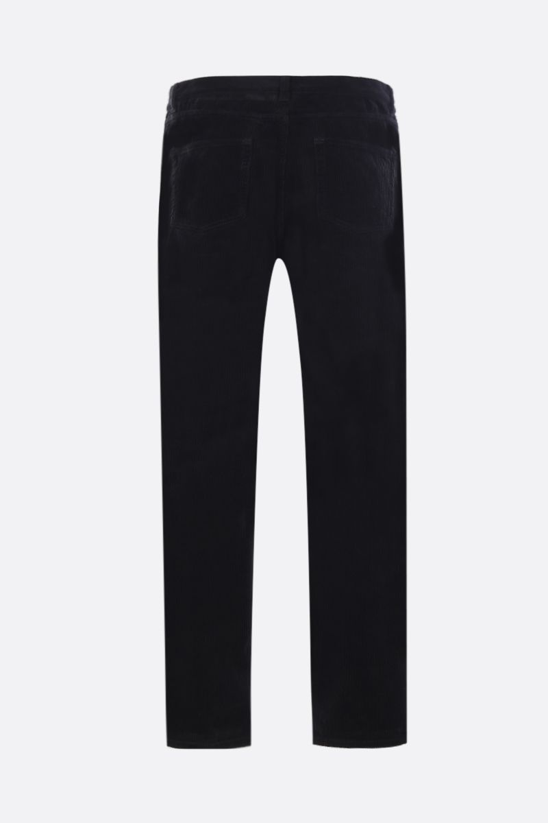 SAINT LAURENT: pantalone cropped in velluto a righe Colore Nero_2