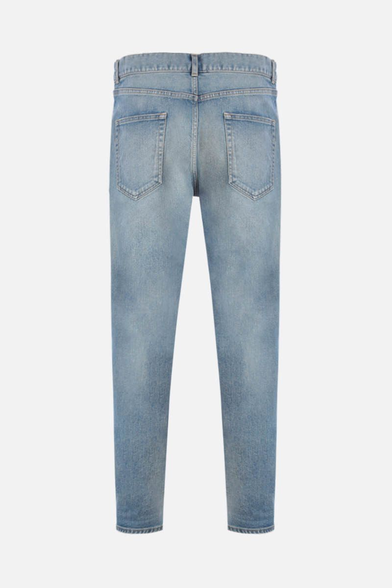 SAINT LAURENT: jeans skinny a vita media Colore Blu_2
