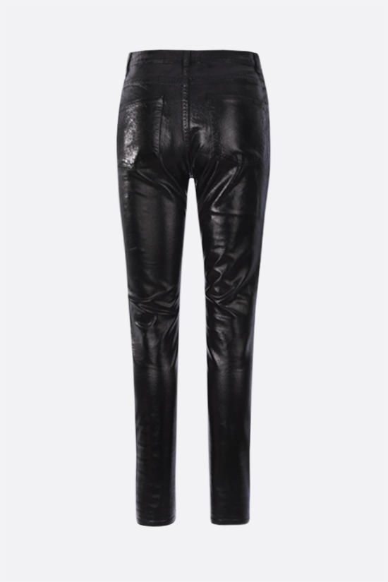 SAINT LAURENT: coated cotton skinny jeans Color Black_2