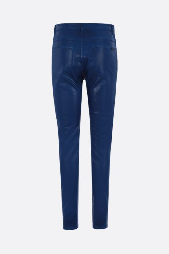 SAINT LAURENT: coated cotton skinny jeans Color Blue_2