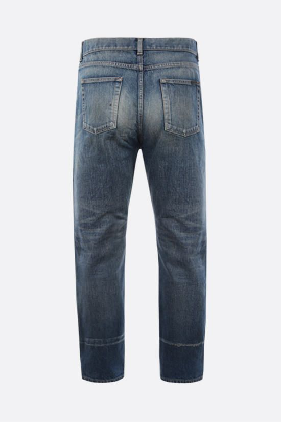 SAINT LAURENT: distressed effect straight-fit jeans Color Blue_2