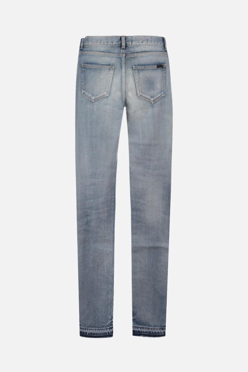 SAINT LAURENT: distressed-effect skinny jeans Color Blue_2