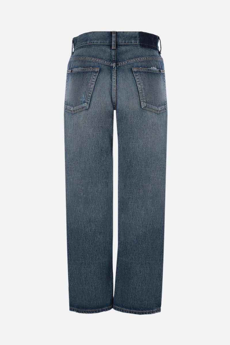SAINT LAURENT: distressed-effect cropped jeans Color Blue_2