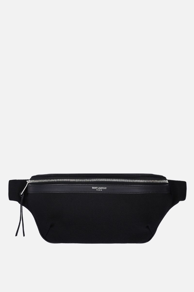 SAINT LAURENT: marsupio in canvas Colore Nero_1