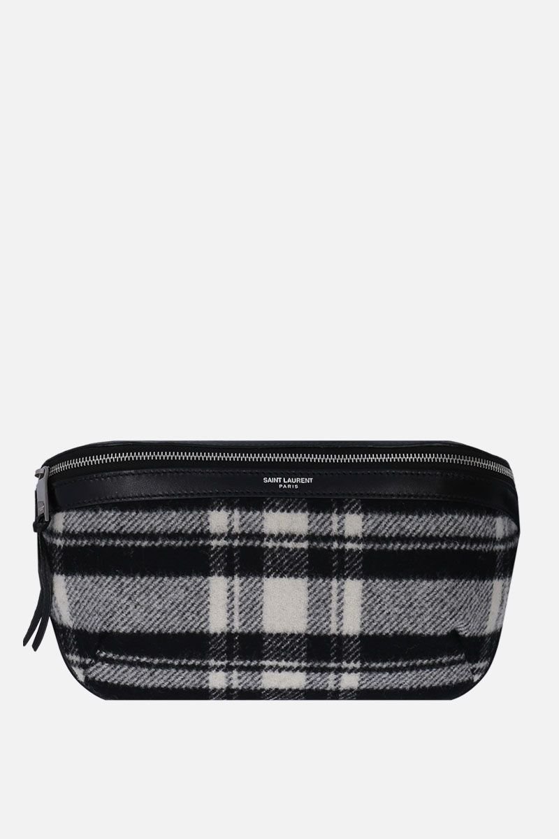 SAINT LAURENT: check wool belt bag Color Black_1