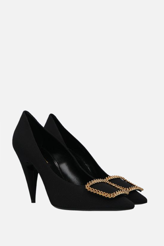 SAINT LAURENT: Sulpice grosgrain canvas pumps Color Black_2