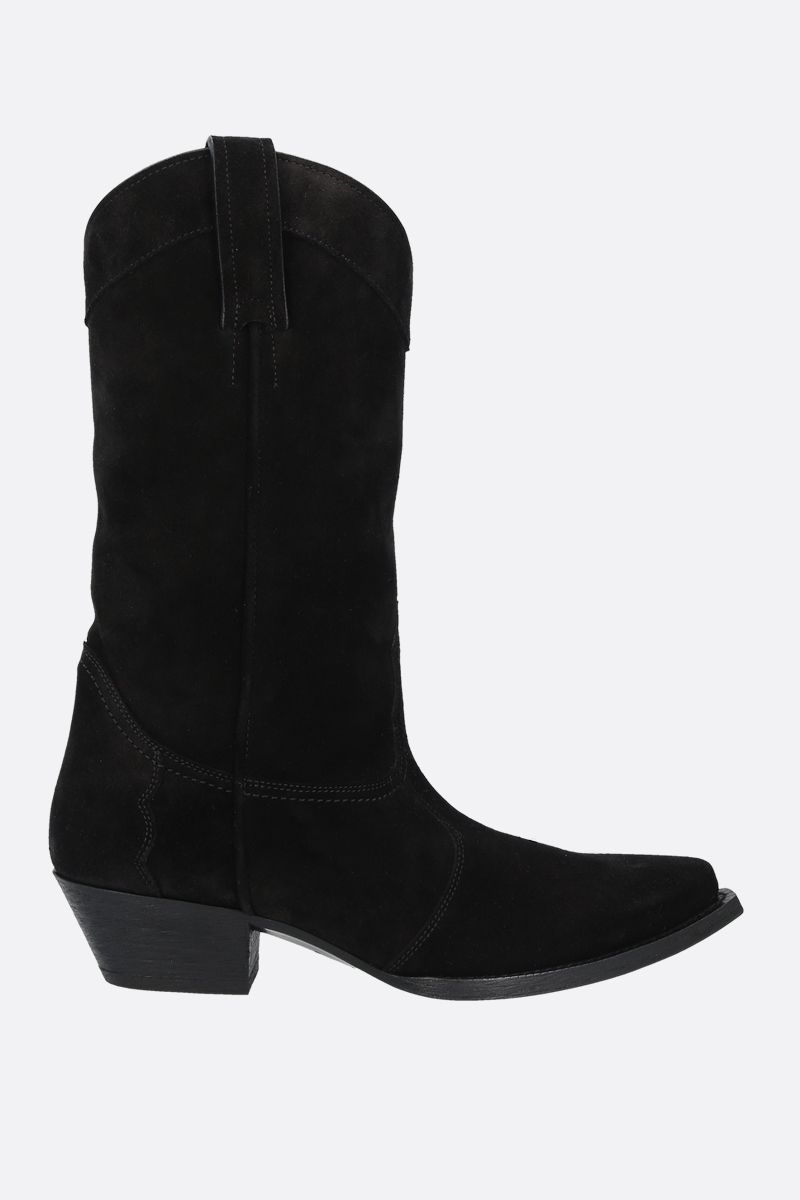 SAINT LAURENT: Lukas suede western boots Color Black_1