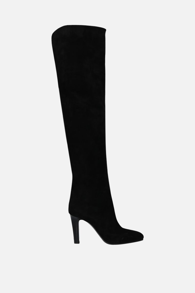 SAINT LAURENT: Jane velvet suede over-the-knee boots Color Black_1