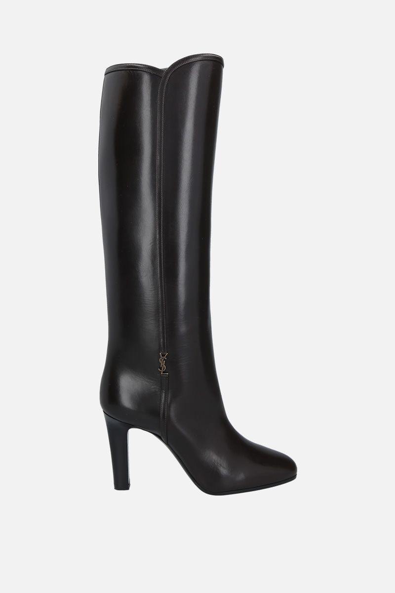 SAINT LAURENT: Jane shiny leather boots Color Brown_1