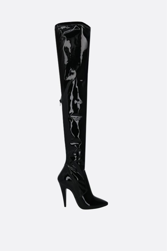 SAINT LAURENT: Aylah vinyl over-the-knee boots Color Black_1