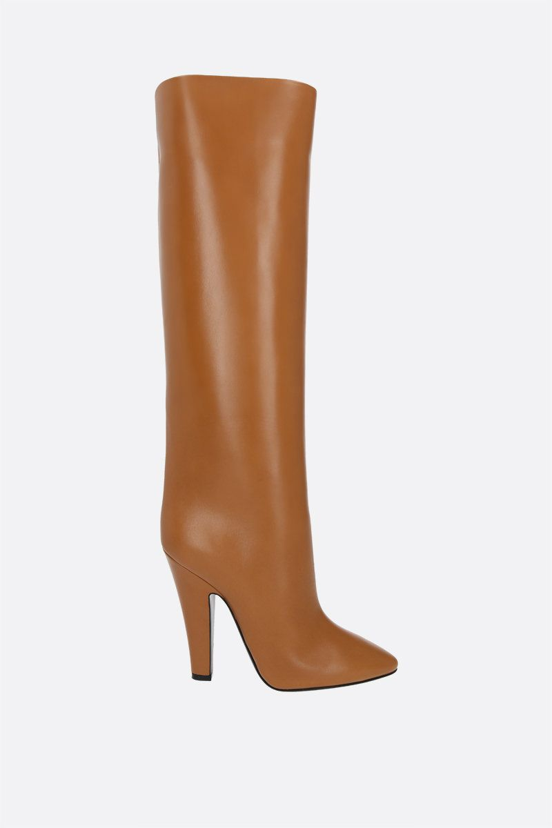 SAINT LAURENT: Tube 68 smooth leather boots Color Brown_1