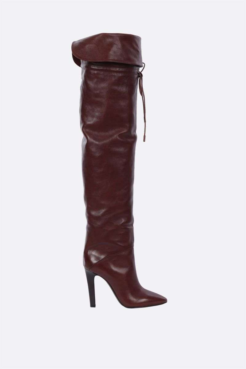 SAINT LAURENT: Jane smooth leather over-the-knee boots Color Brown_1