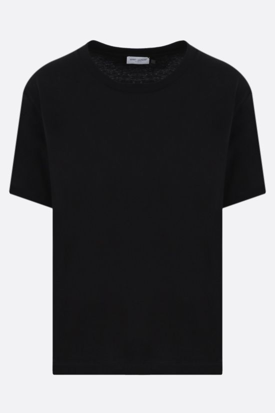 SAINT LAURENT: basic cotton t-shirt Color Black_1