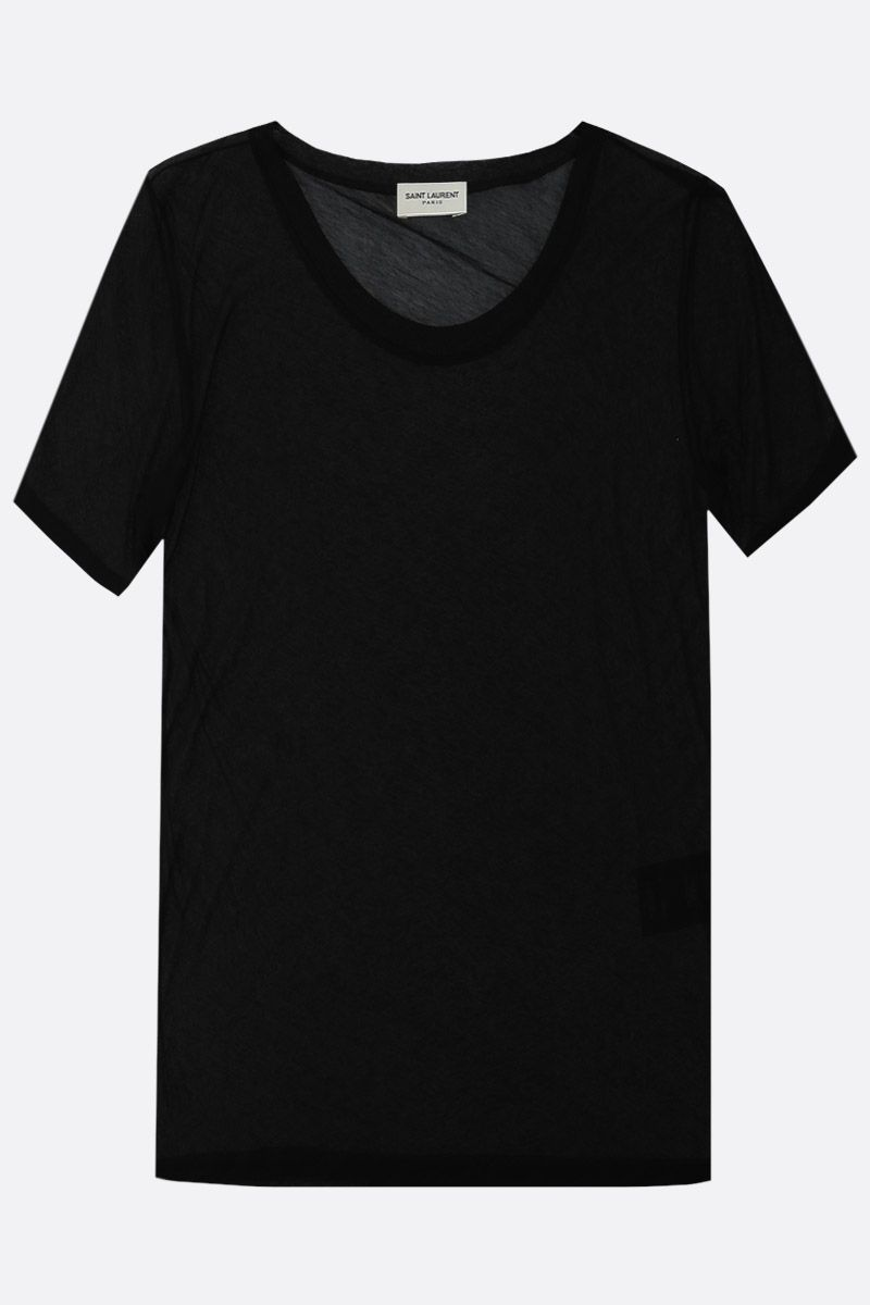 SAINT LAURENT: see-through cotton t-shirt Color Black_1