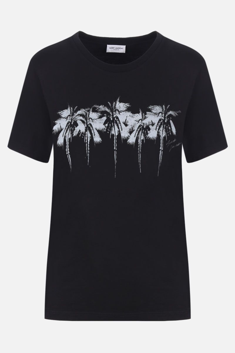 SAINT LAURENT: Palm print cotton oversized t-shirt Color Black_1