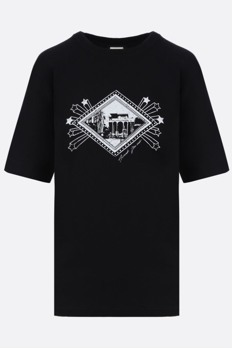 SAINT LAURENT: graphic print cotton t-shirt Color Black_1