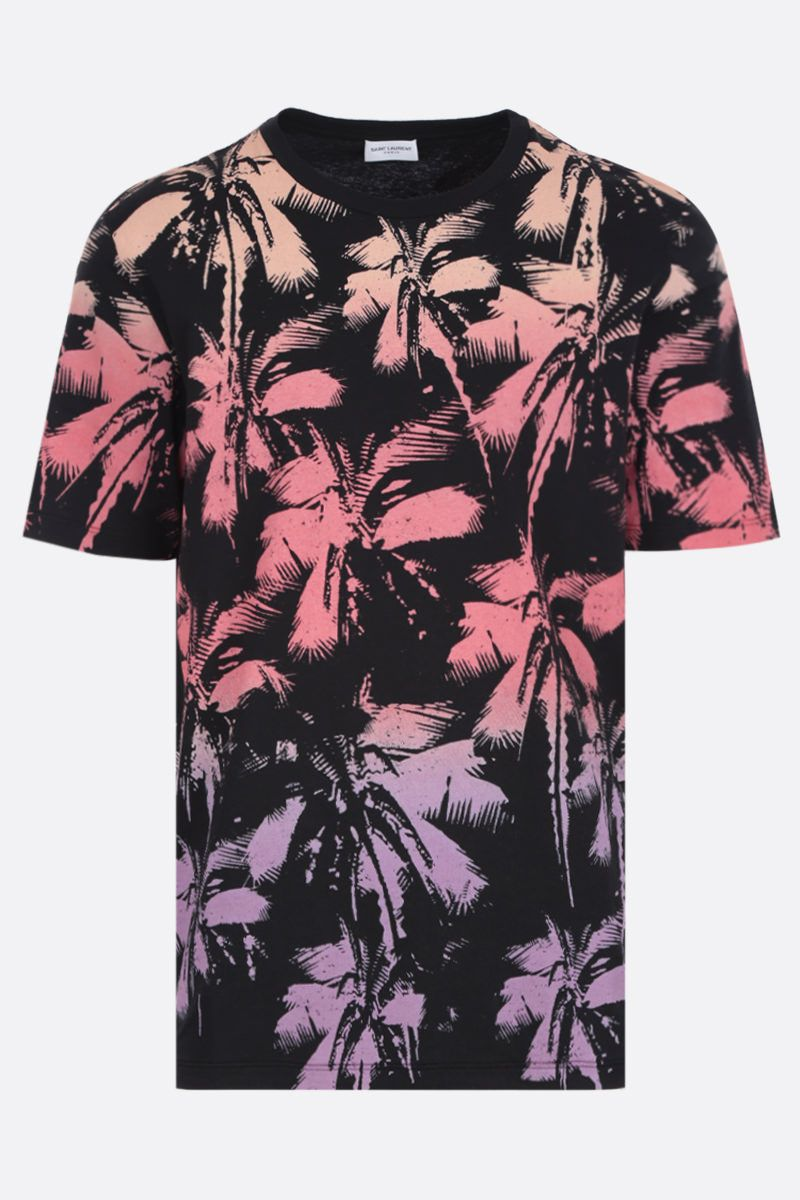 SAINT LAURENT: Palm Dip Dye print jersey t-shirt Color Multicolor_1
