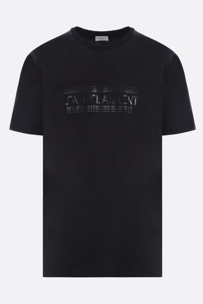 SAINT LAURENT: Saint Laurent print cotton t-shirt Color Black_1