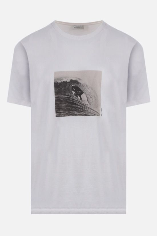 SAINT LAURENT: Surfer cotton t-shirt Color Neutral_1
