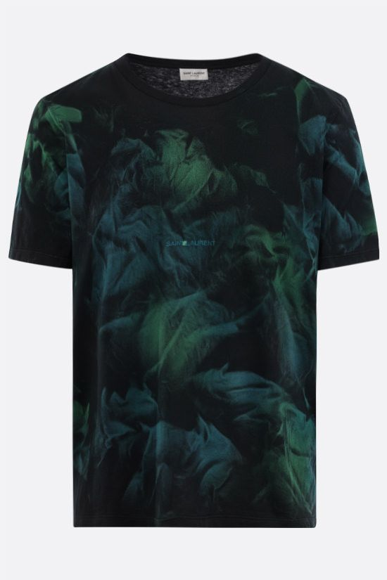 SAINT LAURENT: tie-dye cotton t-shirt Color Black_1