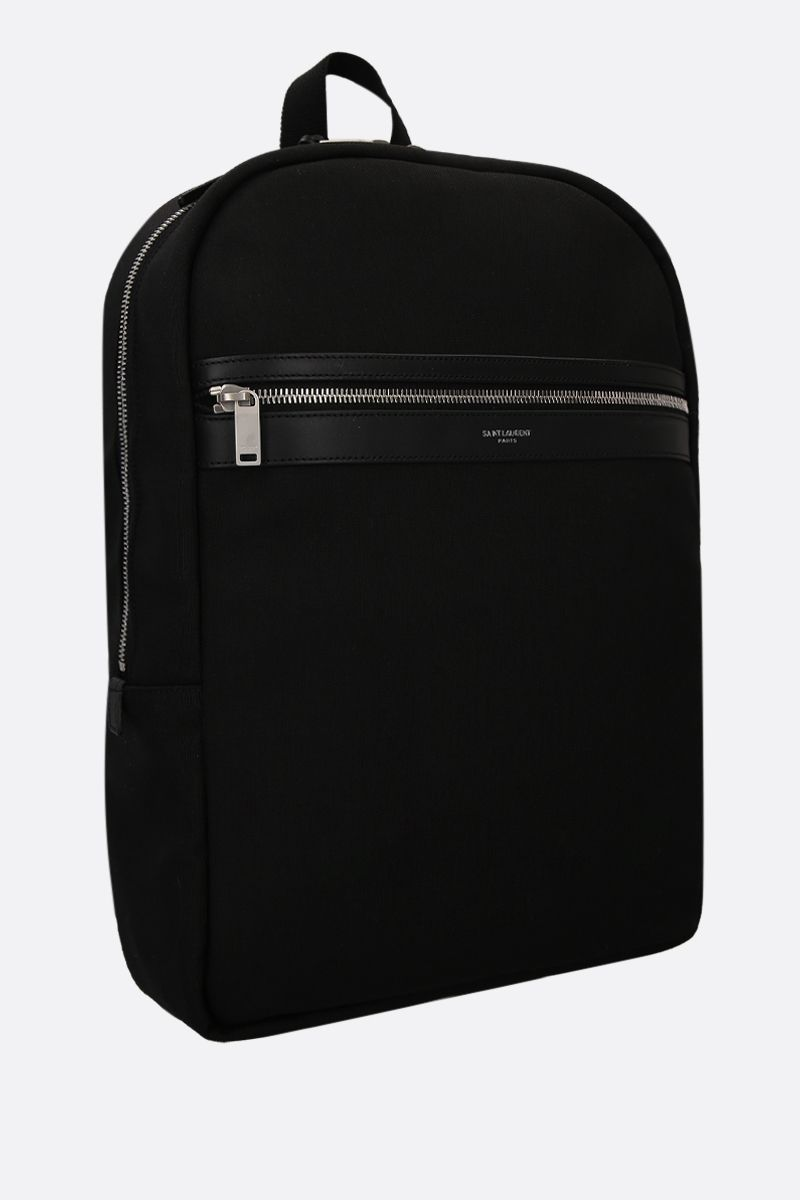 SAINT LAURENT: zaino Laptop City in canvas Colore Nero_2