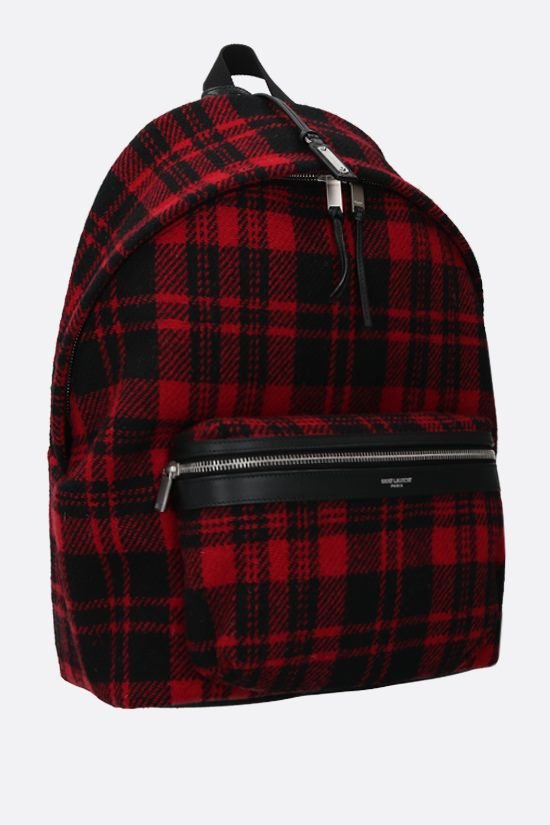 SAINT LAURENT: City check wool backpack Color Black_2