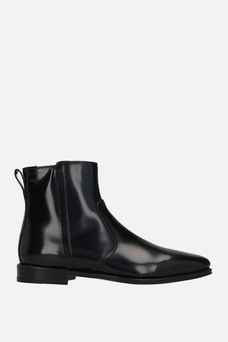 SALVATORE FERRAGAMO: Spider shiny leather ankle boots Color Black_1