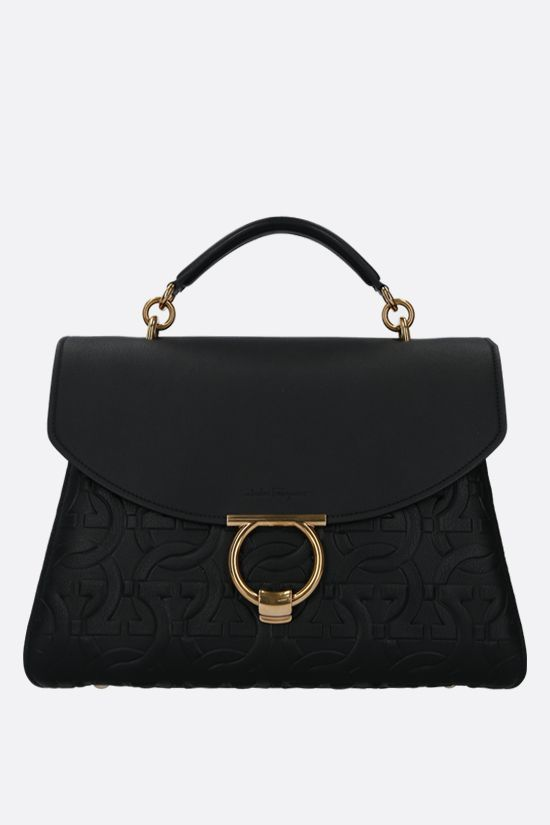 SALVATORE FERRAGAMO: Margot embossed leather handbag Color Black_1