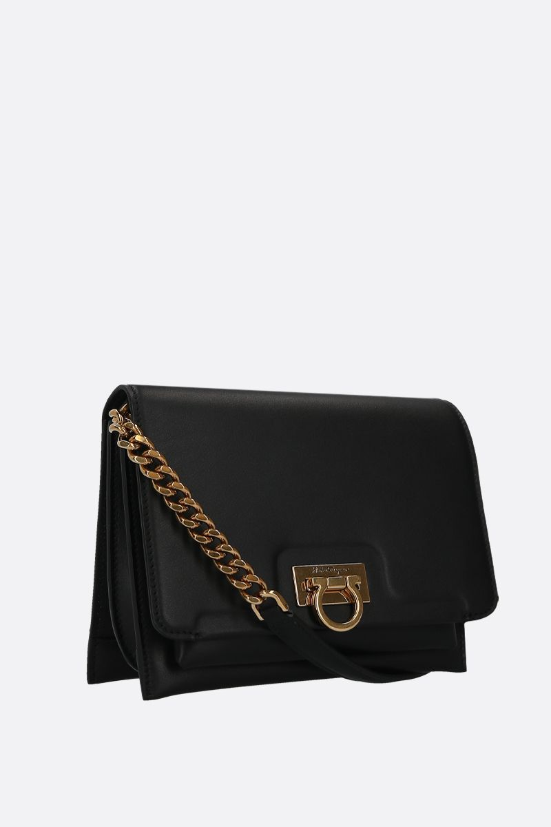 SALVATORE FERRAGAMO: Trifolio smooth leather crossbody bag Color Black_2