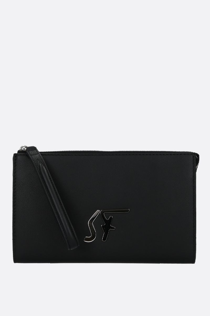 SALVATORE FERRAGAMO: smooth leather clutch with SF signature Color Black_1