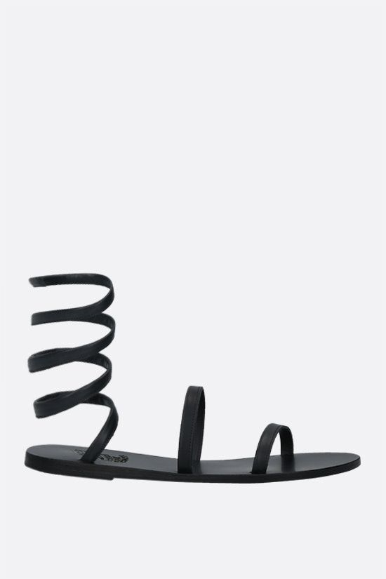ANCIENT GREEK SANDALS: Ofis nappa gladiator sandals Color Black_1
