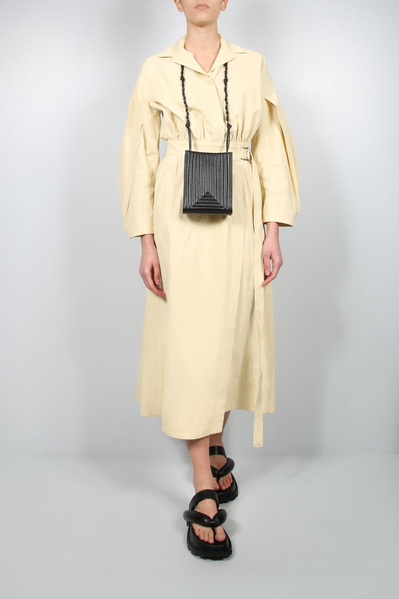 JIL SANDER: linen wrap dress Color Neutral_2