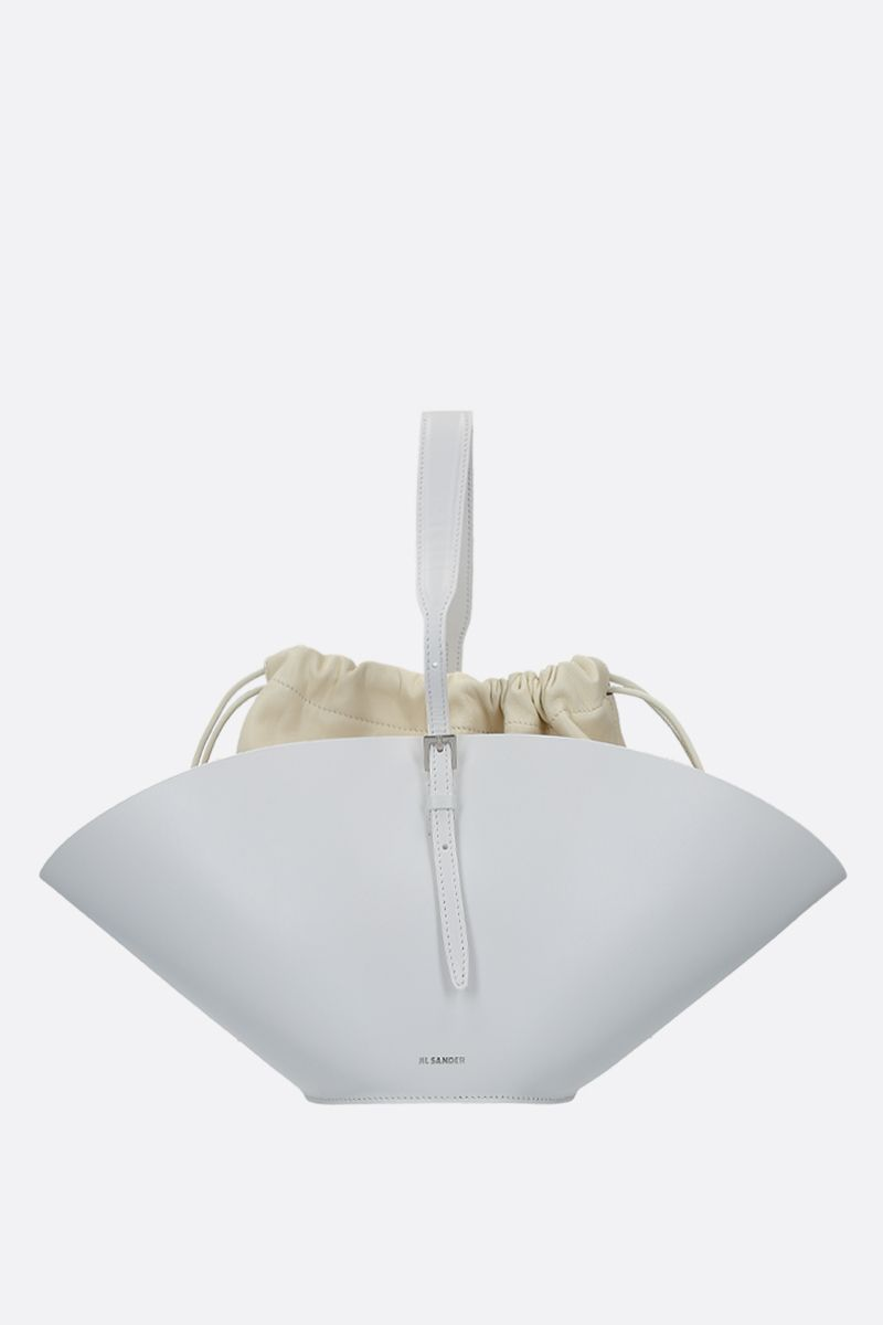 JIL SANDER: Sombrero small top handle bag in smooth leather Color White_1